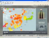 都市の大気汚染の度合いを鼻毛の長さ(画面右側)で示すサイト「鼻毛地図」
