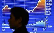 約4年5カ月ぶりの高値となった日経平均株価(6日午後、東京・八重洲)