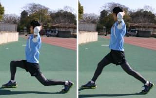 【写真2】脚を前後に開き、体幹は垂直に保ったまま腰を落として「1・2」→上げて「3・4」を繰り返す