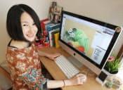 クラウドソーシングを利用して在宅で仕事をする満田裕子さん(千葉県市川市)