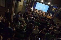 今月17日にクワーキーのオフィスで開かれた公開審査会「イーバル」には約120人が参加した(ニューヨーク市内)