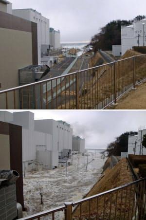 東日本大震災で発生した津波の第2波が襲う前(上)と、約1分半後に津波にのみ込まれた後の東電福島第2原発敷地内。15メートル津波でほぼ全域浸水(2011年3月11日午後3時半ごろ、東京電力提供)=共同