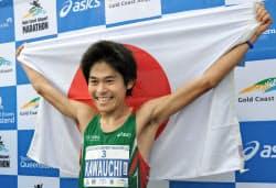 ゴールドコースト・マラソンを大会タイ記録で優勝した川内優輝(7日)=共同
