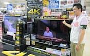 家電量販店各社は4Kテレビを一押しで販売している(ビックロ・ビックカメラ新宿東口店)