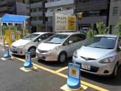パーク24では時間貸し駐車場を利用したカーシェアリング事業を加速している(東京・中央)