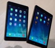 「iPadエア」(右)と「iPadミニ」(左)を並べて大きさを比較してみた