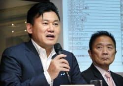 医薬品のネット販売規制について記者会見する楽天の三木谷社長(6日、東京都港区)