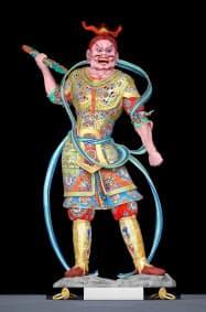つくられた当時の鮮やかな色彩がCGでよみがえった東大寺・執金剛神立像。東京芸大などが再現した=同大提供共同