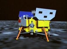 14日、北京の宇宙飛行管制センターのスクリーンに表示された、「嫦娥3号」のイメージ映像=新華社共同