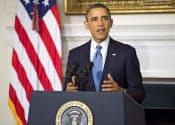 23日、米ホワイトハウスで、イラン核協議の合意を受け、声明を読み上げるオバマ大統領=共同