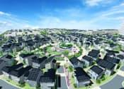 FSSTの完成予想図。住民間の交流を促す目的で、セントラルパークが街の中心に位置。各戸の太陽光発電パネルは南側を向く