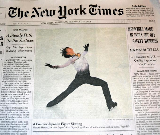 羽生の演技写真、NYタイムズが1面に掲載: 日本経済新聞