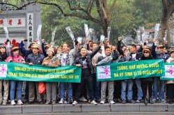 中越戦争から35年にあたり中国に抗議するデモ参加者たち(16日、ハノイ市)