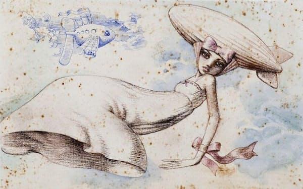 宇野亜喜良「帽子へのHOMMAGE」(「AKIO et AQUIRAX-平田暁夫の帽子」より)                                                         2009年、アクリル、インク、色鉛筆、オイルパステル・紙、26.7×37.8センチメートル