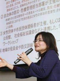 東日本大震災女性支援ネットワークの活動報告会で話す浅野幸子さん