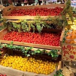 照明の工夫でトマトの鮮やかな色を際立たせ、集客効果を高めているオイシックスの店舗