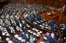 原子力協定締結の承認案件を可決した衆院本会議(4日午後)=共同