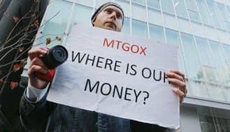 マウントゴックスが取引停止となり、抗議するビットコインの利用者(2月26日、東京・渋谷)