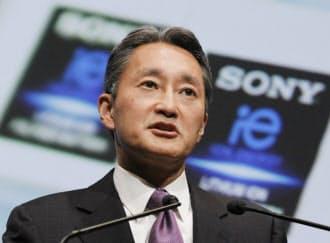 経営方針を発表するソニーの平井社長(22日午後、東京都港区)