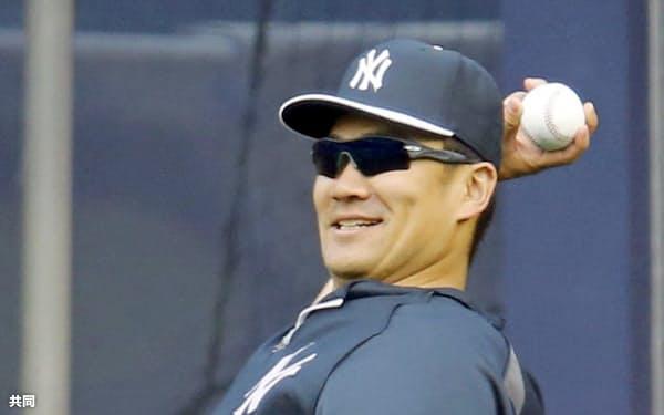 5月の月間最優秀選手に選出されたヤンキース・田中将大投手(3日、ニューヨーク)=共同