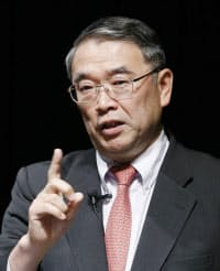 講演するNECの遠藤社長(9日午後、東京・大手町)