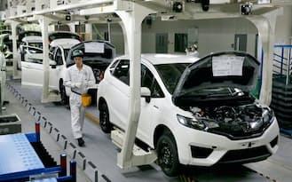 フィットHVはリコール問題に悩まされた(埼玉県・寄居工場のフィット生産ライン)