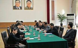 北京の北朝鮮大使館で1日に行われた日朝局長級協議