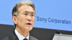 決算発表するソニーの吉田憲一郎最高財務責任者(31日午後、東京都港区)