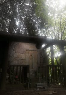 山中にたたずむ疱瘡地蔵。正長の土一揆を民衆側が刻んだ碑文が残る(奈良市)=ストロボ使用