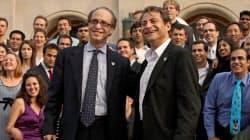 シンギュラリティ大学を創設したディアマンディス氏(手前右)とカーツワイル氏(手前左)