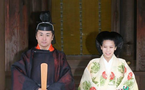 結婚式を終えた典子さまと千家国麿さん(5日午後、島根県出雲市の出雲大社)