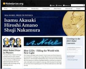 赤崎、天野、中村の各氏の物理学賞受賞を伝えるノーベル財団のホームページ