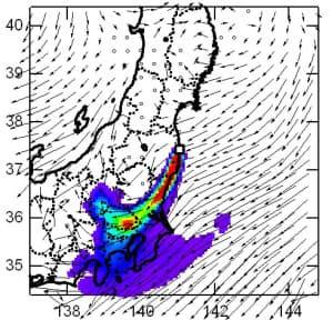 原発から放出されたセシウムの3月15日正午の拡散状況。北東風に乗って関東などに広がっている=国立環境研究所提供