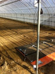 農業関連企業アグリフューチャーで試験導入したセンサー機器(宮城県大崎市)