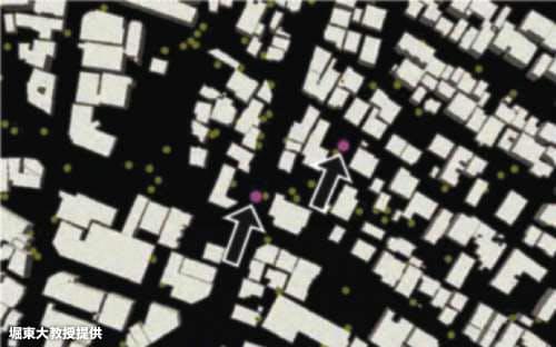 地震や津波が起きたときの人々の避難状況なども計算で再現する(丸は避難者、矢印は避難を呼びかける人)=堀東大教授提供