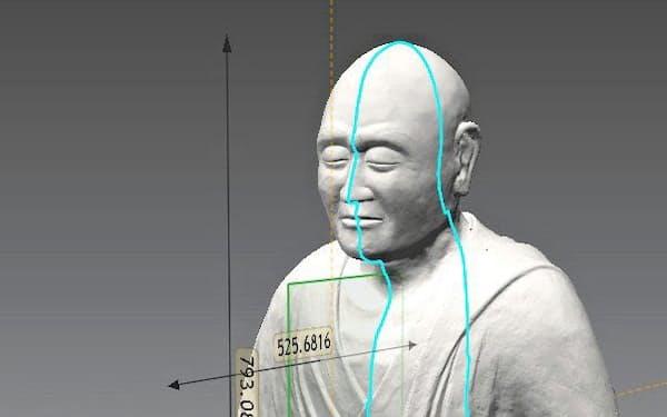 計測データから可視化した鑑真和上坐像の立体形状(凸版印刷、唐招提寺提供)