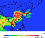 九大の竹村俊彦准教授によると、10日ごろに中国から汚染物質が飛んでくるという(10日午後9時の予想、赤い部分が高濃度)