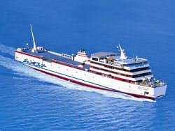 ジャンボフェリーの定期船。小豆島から先は高速船に乗り換え、直島に向かう