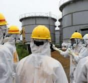 原子力規制委員会は汚染水漏れが起きた東京電力福島第1原発を現地調査した(8月23日)