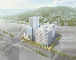 広島テレビなど3社がそれぞれビルを建てる(完成イメージ)