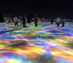 大行列ができた「DMM.PLANETS」。膝まで浸す水にコイや花の映像が投影された