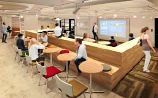 80席のオープンラウンジを設け、入居企業同士の交流を活発にする(イメージ)