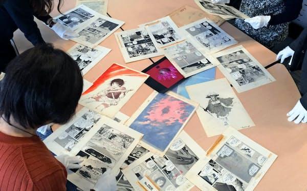 展示に向けマンガ作品保存会MOMが「坂口尚作品保存会午后の風」とともに原画を選ぶ(さいたま市)