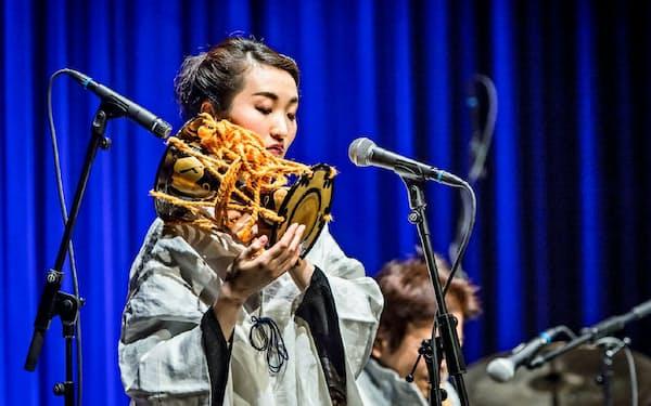 ポーランドのジャズフェスに出演した囃子方の福原千鶴(C)Slawek Przerwa/NFM