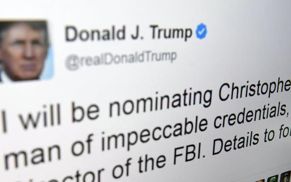 トランプ米大統領が投稿した、FBI長官にクリストファー・レイ氏を指名するとしたツイッター画面