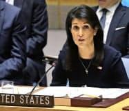 4日、国連安保理で米国のヘイリー国連大使は「最強の制裁措置」を主張した=AP