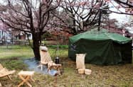 大泉工場の敷地内にテント型サウナを設置する(埼玉県川口市)