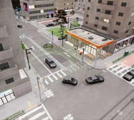 CGで再現した街中。この環境を学習することで実世界でも走行できるAIができる=アセントロボティクス提供