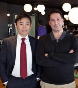 石崎社長(左)とアルメイダ氏が共同で起業した