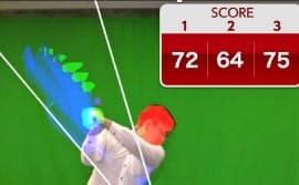 AIが頭やヘッドの位置などを分析して、熟練のスイングとの違いを見せてくれる